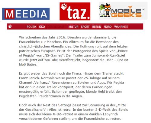 Taz.de meedia.de und mobile geeks schreiben über verFRANZt
